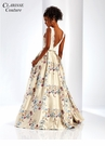 Champagne Floral Brocade Gown 4973
