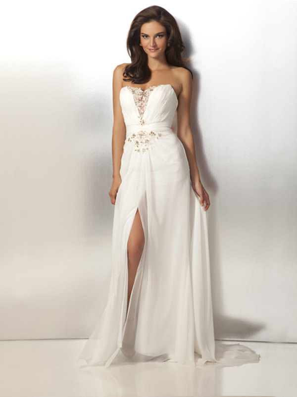Ivory And Gold Chiffon Formal Dress 17107