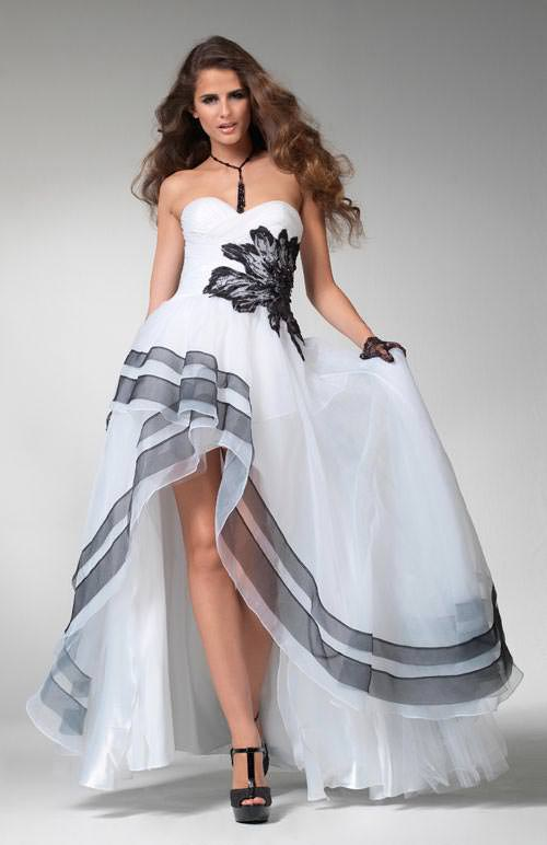 Clarisse prom dress 1504 - Black and white high low formal ball gown ...