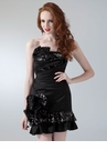 Strapless Black Ruffle Cocktail Dress 1607