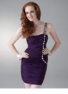 Purple Ruched Cocktail Dress 1608