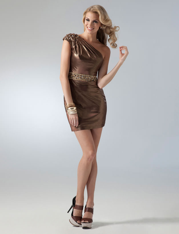 2011 Homecoming dresses - bronze shimmer cocktail dress 1618 ...