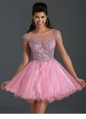 Short Pink and Silver Homecoming Dress 2646