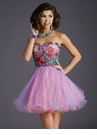Unique Pink Lace Homecoming Dress 2647