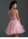 Pink Sparkling Lace Homecoming Dress 2648