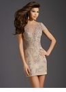 Champagne Lace Cocktail Dress 2673