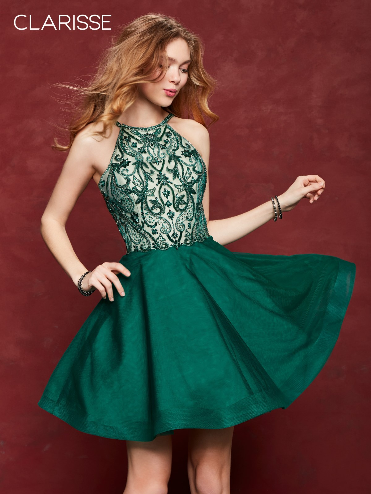 33a01543ff Clarisse 3642 Forest Green Jeweled Homecoming Dress