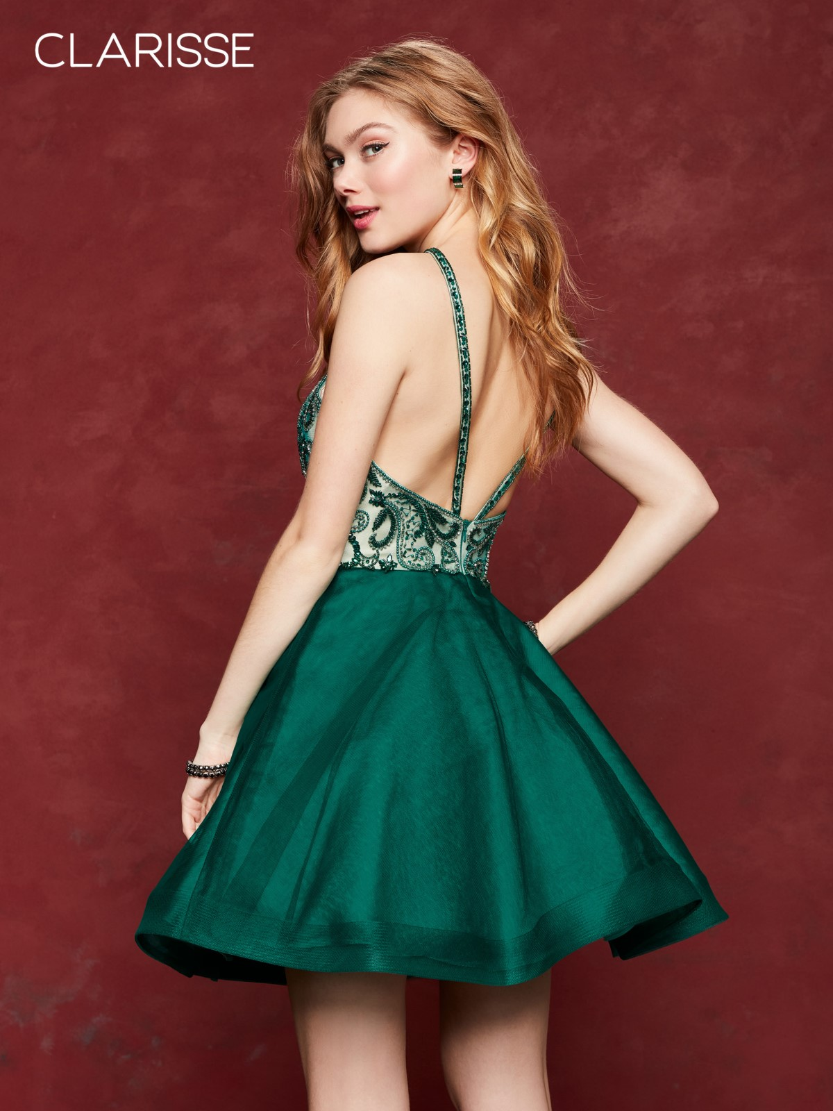 a6f74d43c6 Clarisse 3642 Forest Green Jeweled Homecoming Dress Clarisse 3642 Forest  Green Jeweled Homecoming Dress