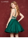 Clarisse 3642 Forest Green Jeweled Homecoming Dress