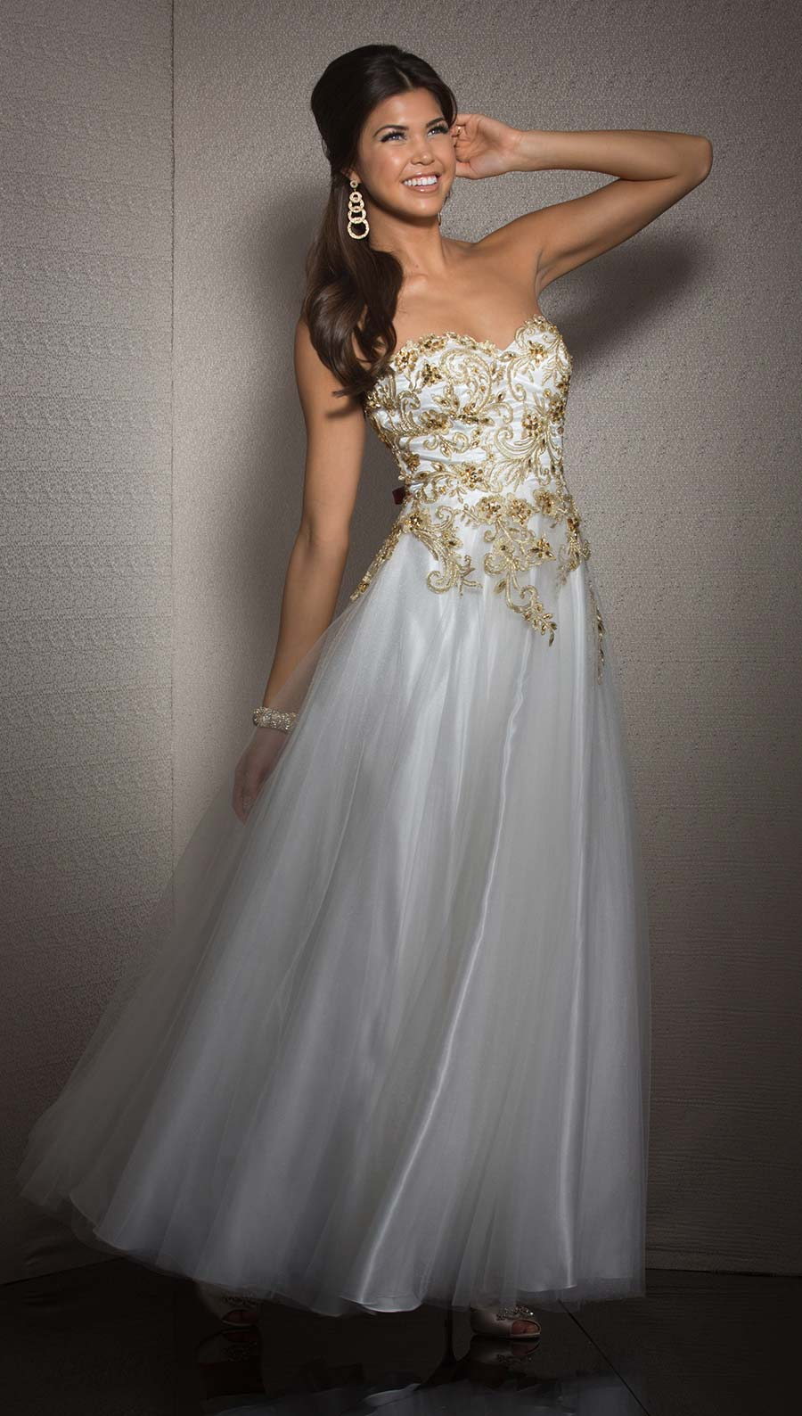 White and Gold Clarisse Ball Gown 2506 | Promgirl.net