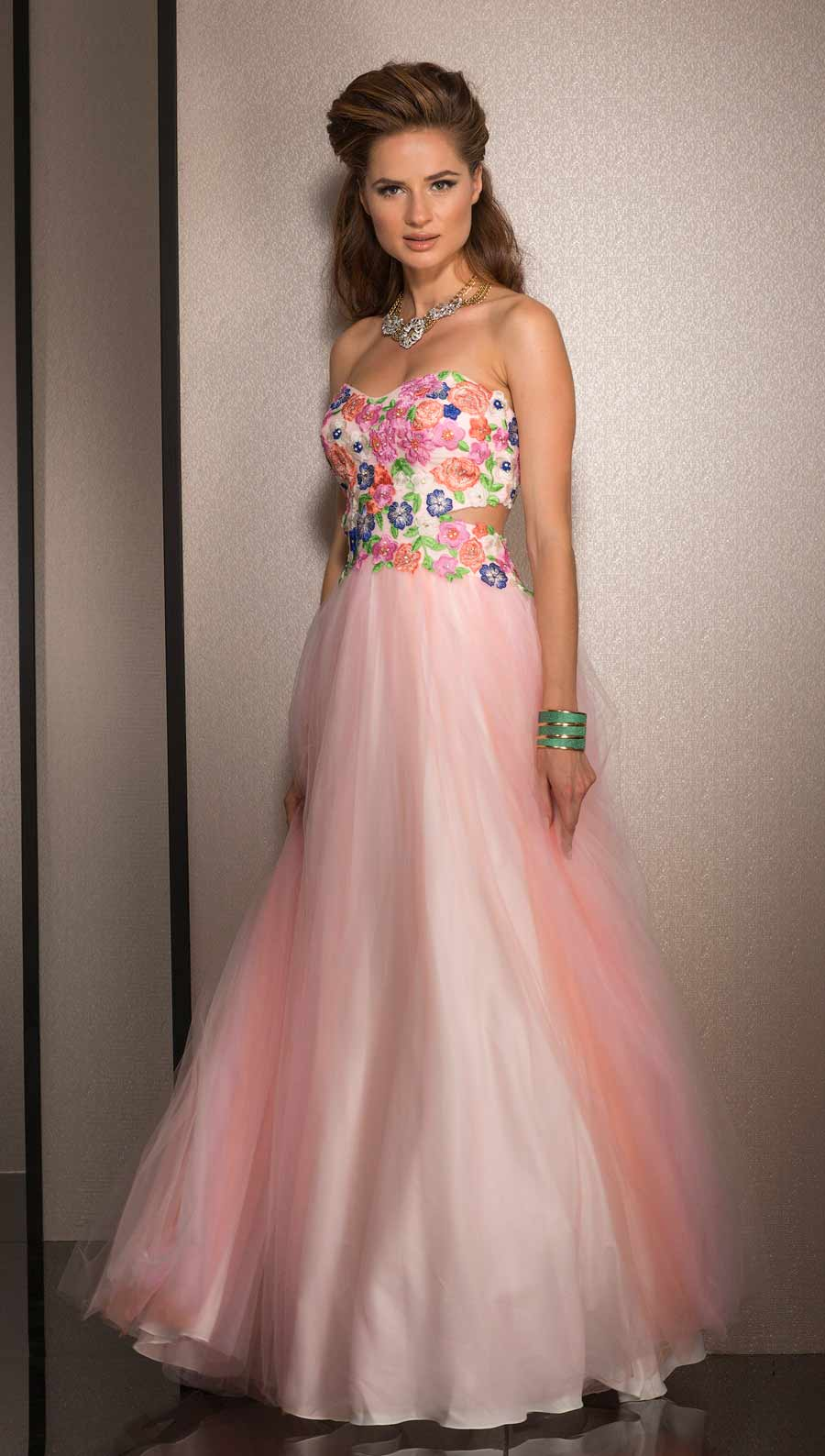 Clarisse Floral Ball Gown 2531 | Promgirl.net