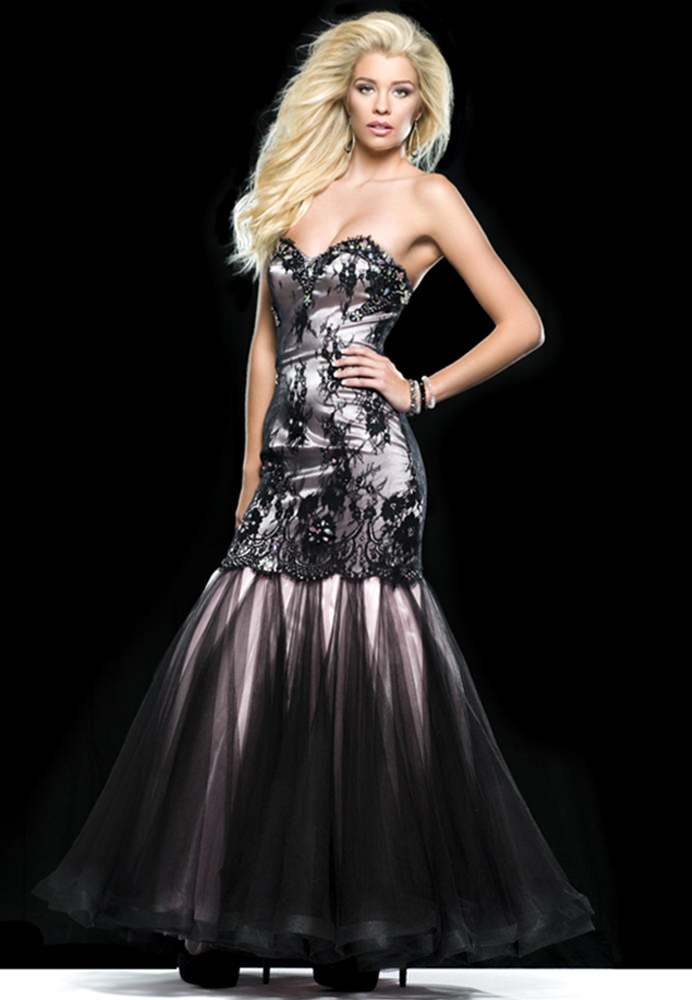 Clarisse 2014 Black Pink Lace Mermaid Strapless Sweetheart Prom ...