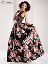 Clarisse Black Print Ball Gown 3003