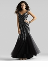Black and Silver Couture Gown 4312