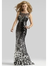 Black and Silver Couture Formal Gown 4305