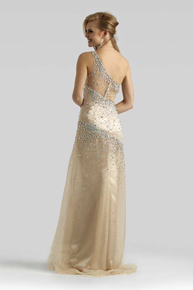 Clarisse Couture 2014 Light Champagne One Shoulder Beaded Sheer Prom ...