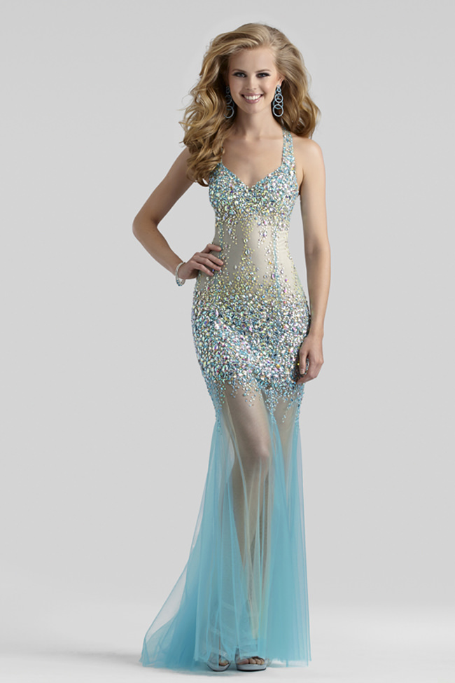 2014 Clarisse Couture Aqua Nude Sheer Tulle Beaded Sequin
