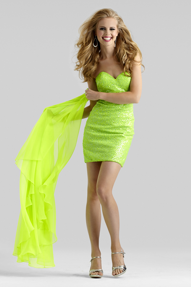 Clarisse 2014 Crazy Lime Strapless Sequin Fitted Dress