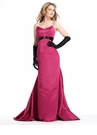 Long Strapless Satin Dress with Train 1389