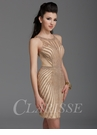 Clarisse Gold Embellished Homecoming Dress 2943