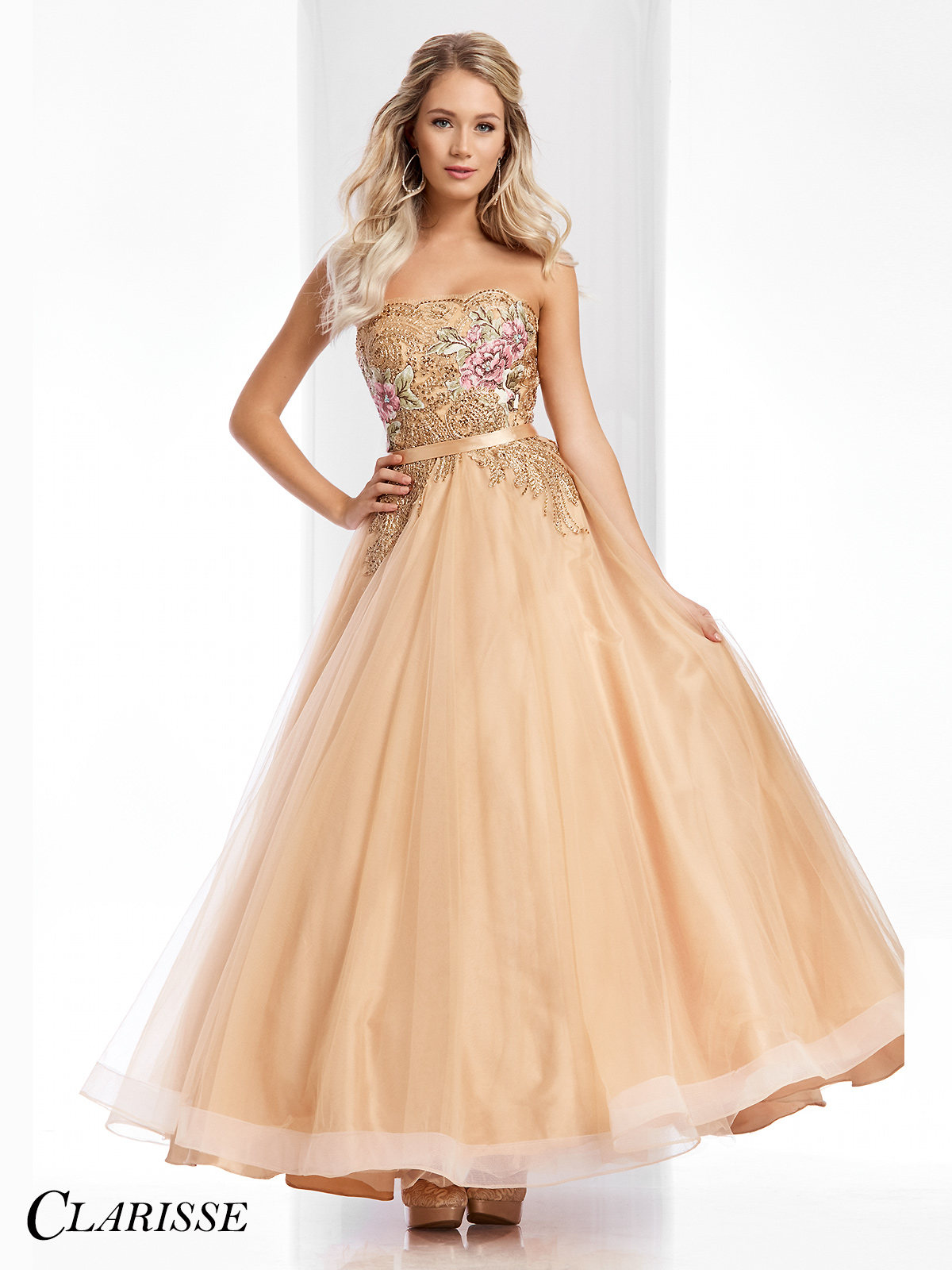 Golden Floor Length Prom Dresses