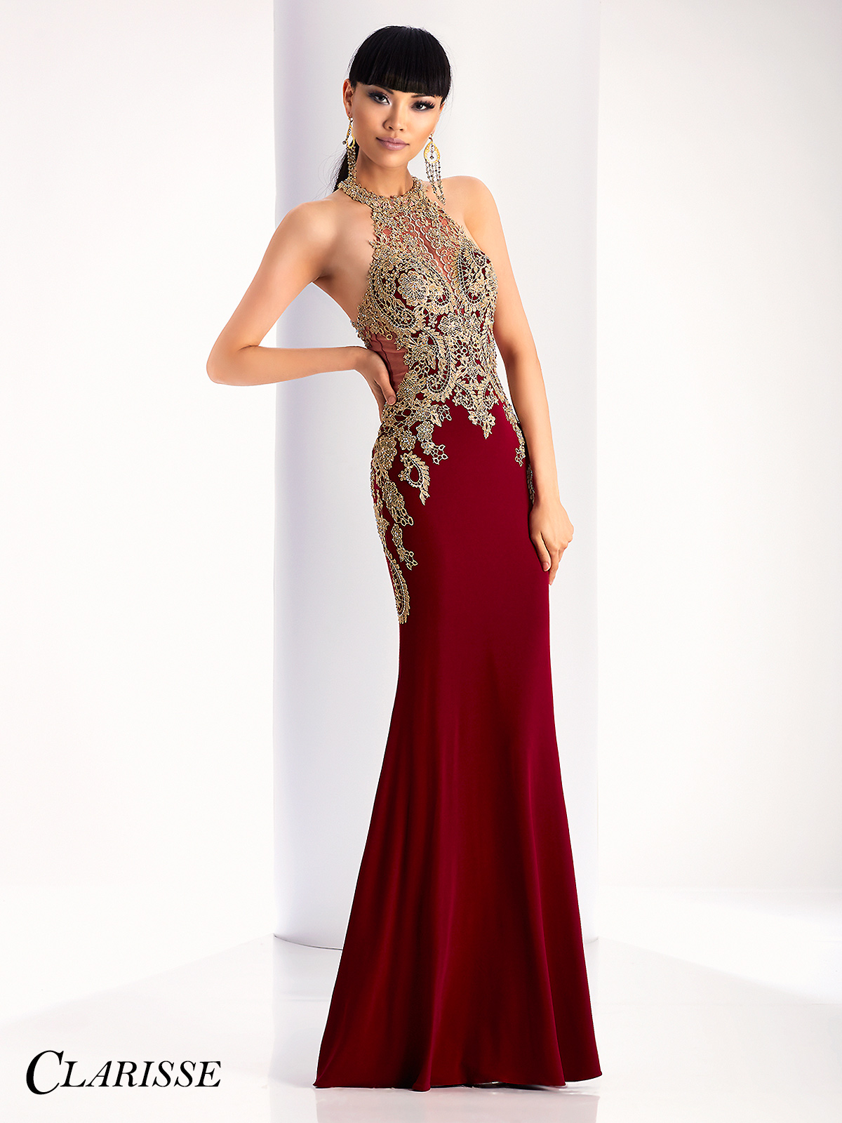 Clarisse Gold Lace Embellished Prom Dress 4819