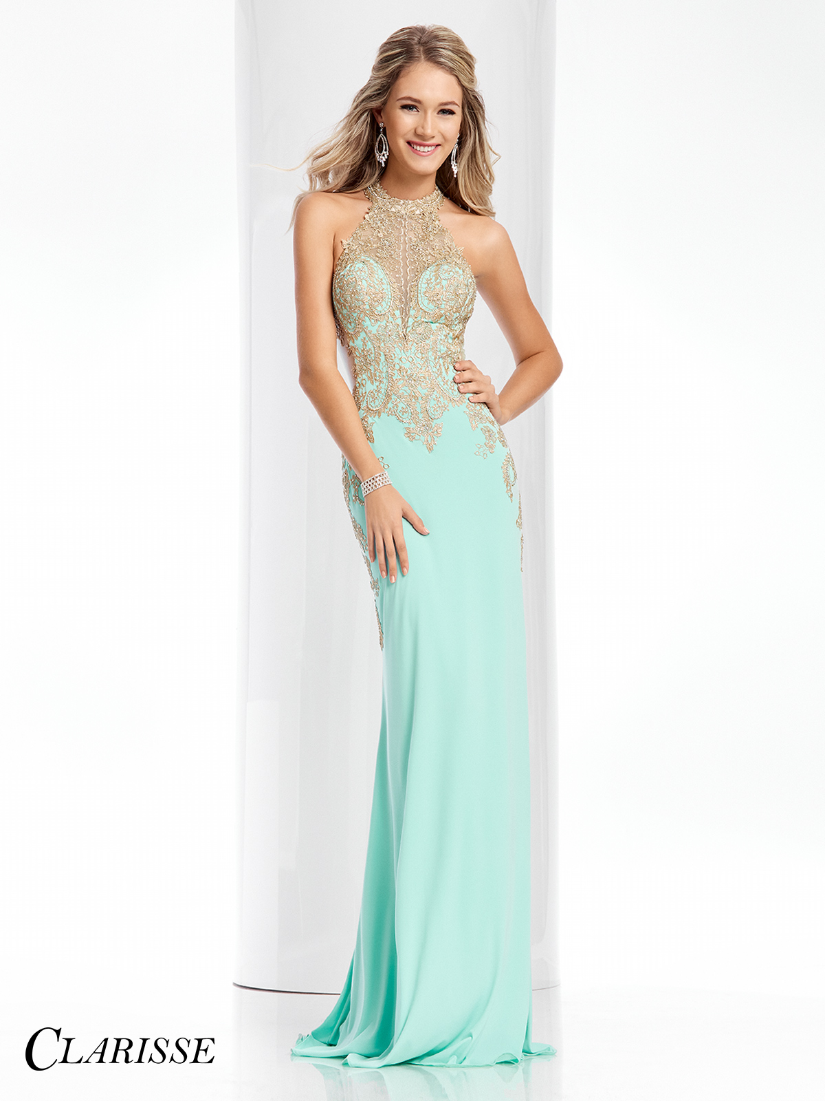 f8d8b0a61d19 ... Clarisse Gold Lace Embellished Prom Dress 4819 ...