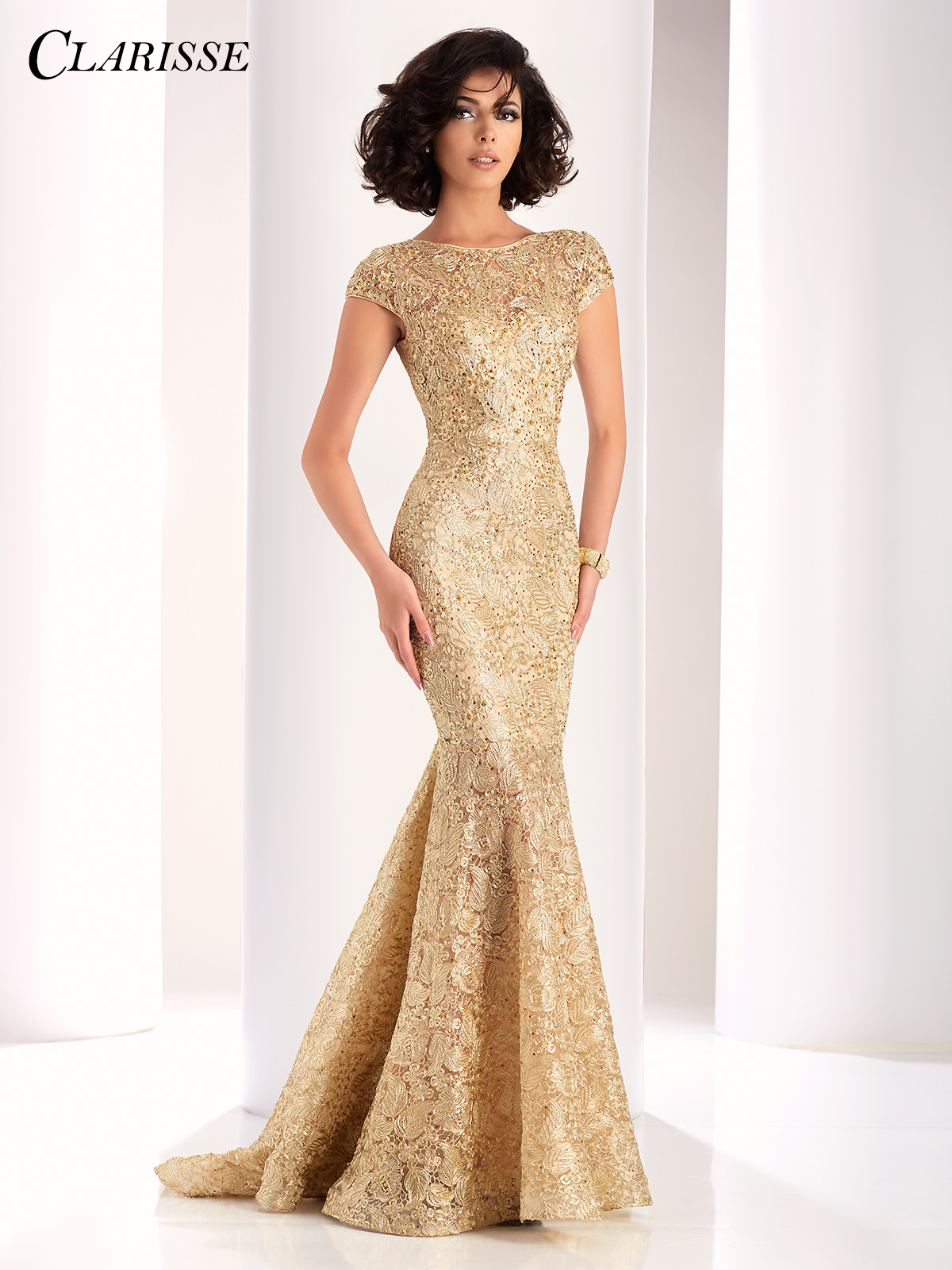 Elegant Lace Mermaid Evening Gown 4852 2 Colors