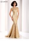 Clarisse Gold Lace Mermaid Evening Gown 4852