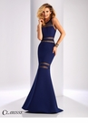 Clarisse Mesh Detail Neoprene Prom Dress 3086