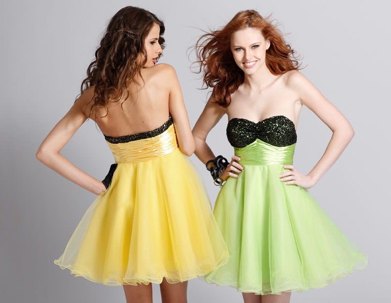 Black Yellow Or Lime Short Prom Dress 1310