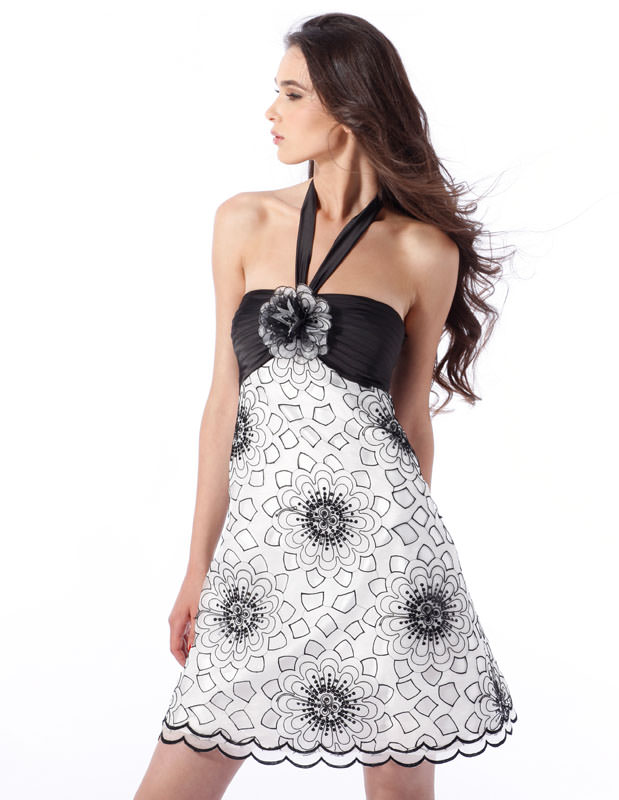 Black and white short geometrical design Dress 1332