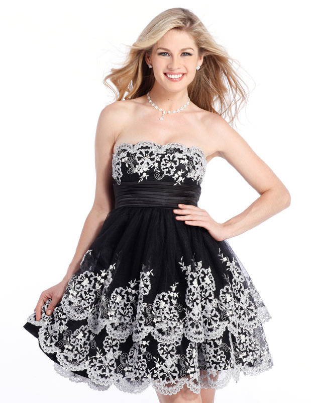 94bcf8d61a66 Semi-formal white and black short Clarisse Prom Dress 1334