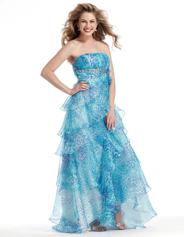 Blue Animal Print Formal Clarisse Prom Dress 1342