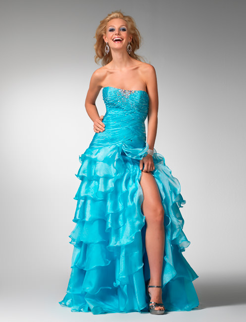 Clarisse Prom Dress 1535 - Ocean blue strapless ball gown | Promgirl.net
