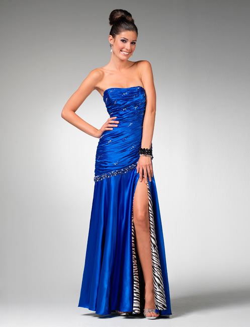 Clarisse Prom Dress 1551 Blue And Zebra Print Evening Gown