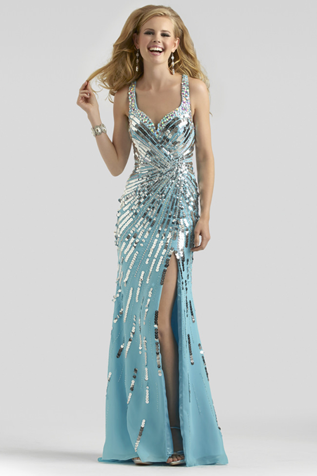 Clarisse 2014 Blue Silver Sequin Sweetheart Prom Dress 2326 ...