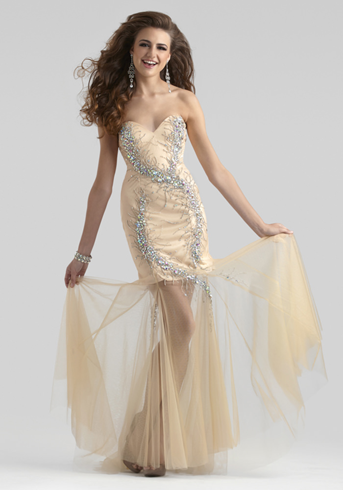 Clarisse 2014 Pacific Blue and Nude Strapless Sweetheart Mermaid ...