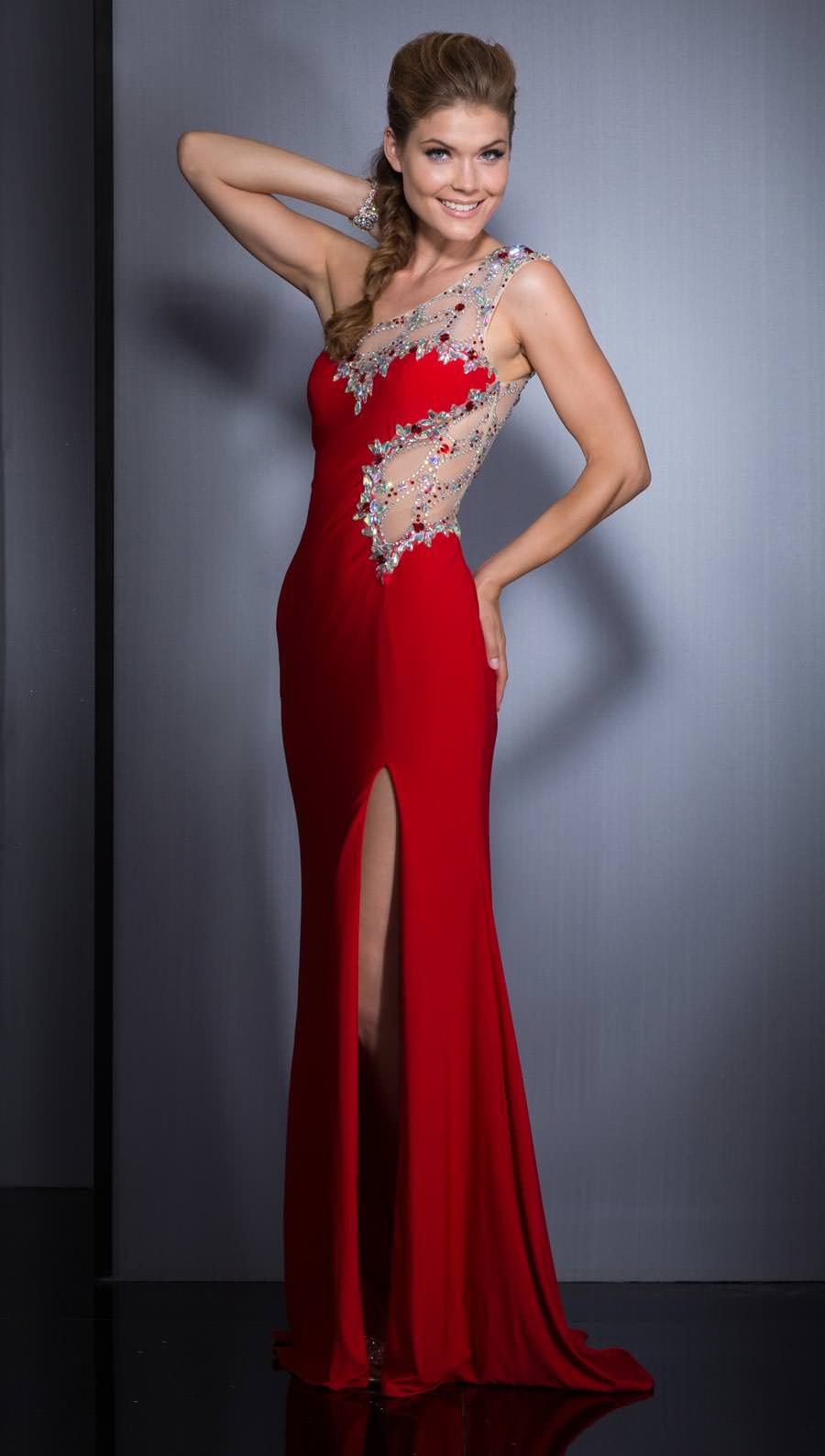 Red Silver Prom Dress