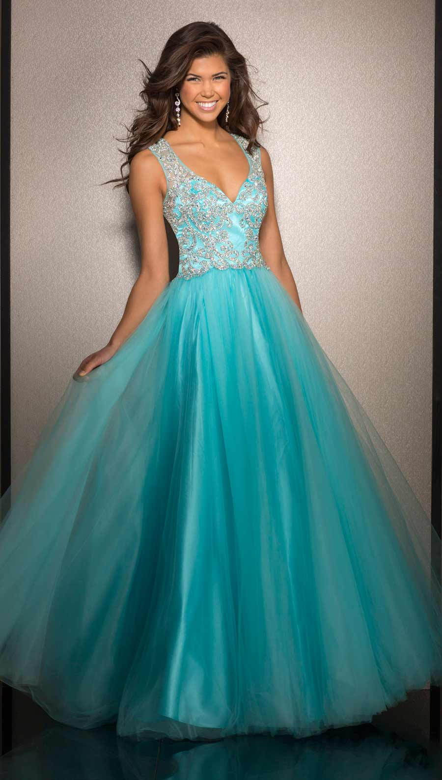 Clarisse Turquoise Ball Gown 2638 | Promgirl.net