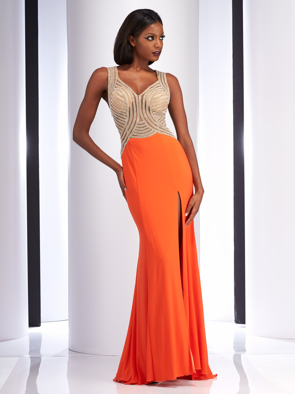 Short Orange Prom Dresses with Strapes