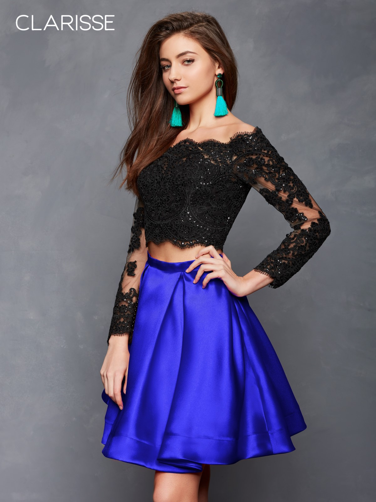 d1e026df8c33f Dramatic Long Sleeved Two Piece Homecoming Dress s3581| Promgirl.net 2018
