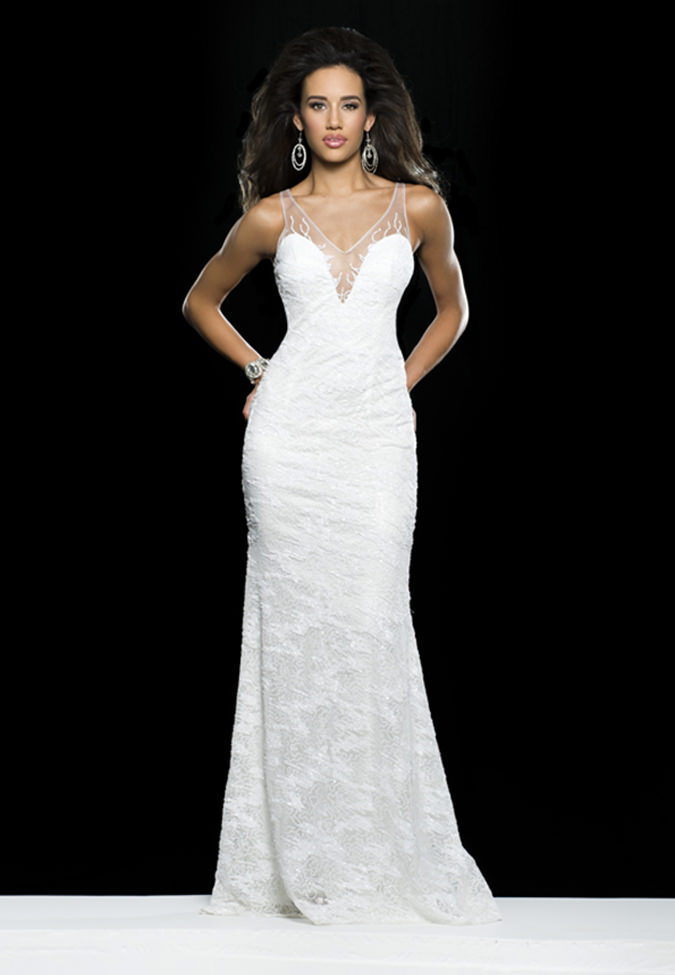 Clarisse 2014 White Sequin Sheer V-Neck Long Prom Gown 2406 ...