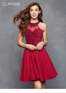 Crimson Lace and Chiffon Homecoming Dress s3528