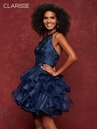 Dramatic Lace Cascading Skirt Navy Homecoming Dress 3662