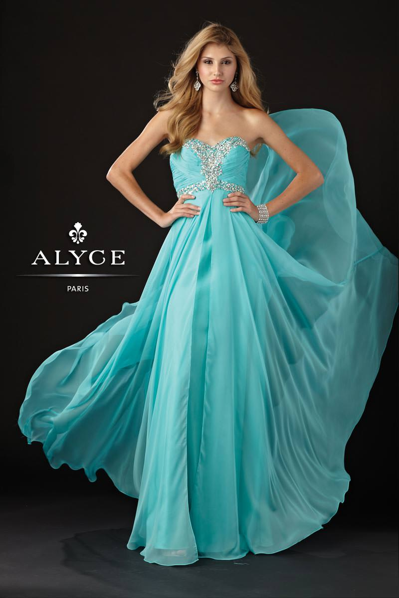 Alyce 2013 Aqua Sweetheart Strapless Beaded A-Line Prom Gown 6925 ...
