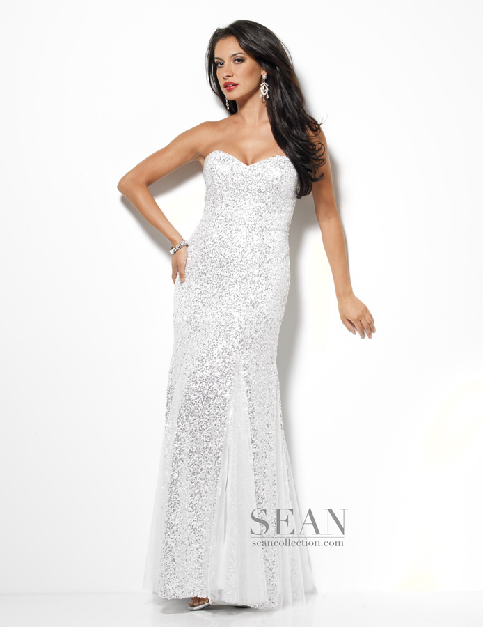 Sean Collection 2013 White Silver Strapless Sweetheart Lace Up Back ...