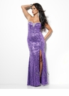Elegant Purple Sequin Sean Collection Gown 50506