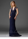 Elegant V-neck Navy Evening Gown M6412