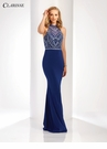 Embellished Long Royal Prom Dress 3496